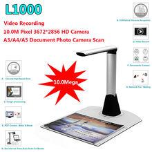 Бесплатная доставка! L1000 HD A3 A4 A5 10 mega 3672*2856 документ книга фотография ID сканер Камера USB A3 сканер документов camscanner