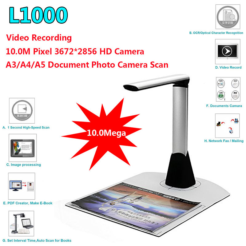 Livraison gratuite! L1000 HD A3 A4 A5 10 Mega 3672*2856 Document Livre Photo ID Scanner Caméra USB A3 Scanner de Documents Camscanner
