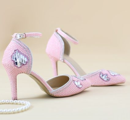 ФОТО 2017 superstar pumps shoes woman TG993 pink pearls wedding shoes womens lady proms dress pink party pump point toes stiletto