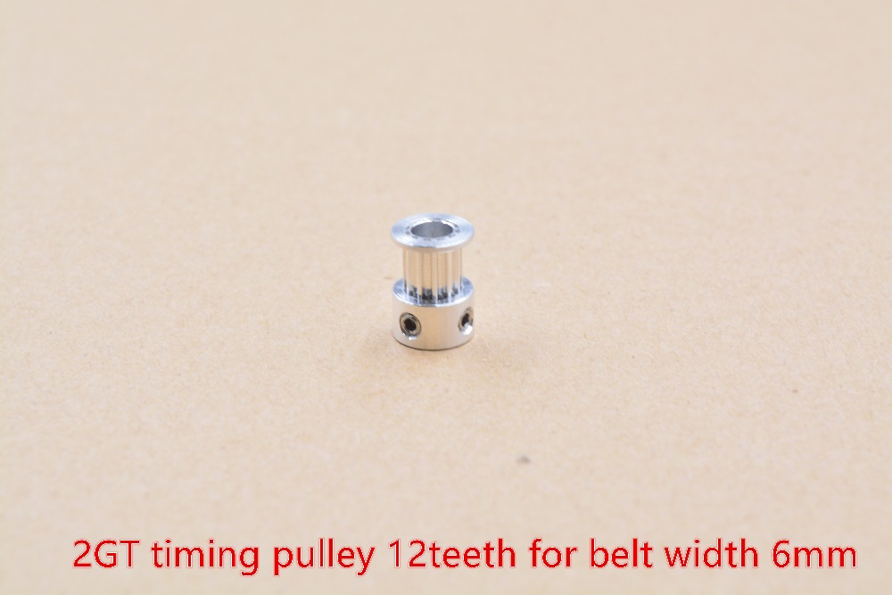 3d printer pulley aluminum 2GT timing pulley 12teeth bore 4mm 5mm pulley for GT2 belt width 6mm 1pcs powge 8pcs 20 teeth gt2 timing pulley bore 5mm 6mm 6 35mm 8mm 5meters width 6mm gt2 synchronous 2gt belt 2gt 20teeth 20t