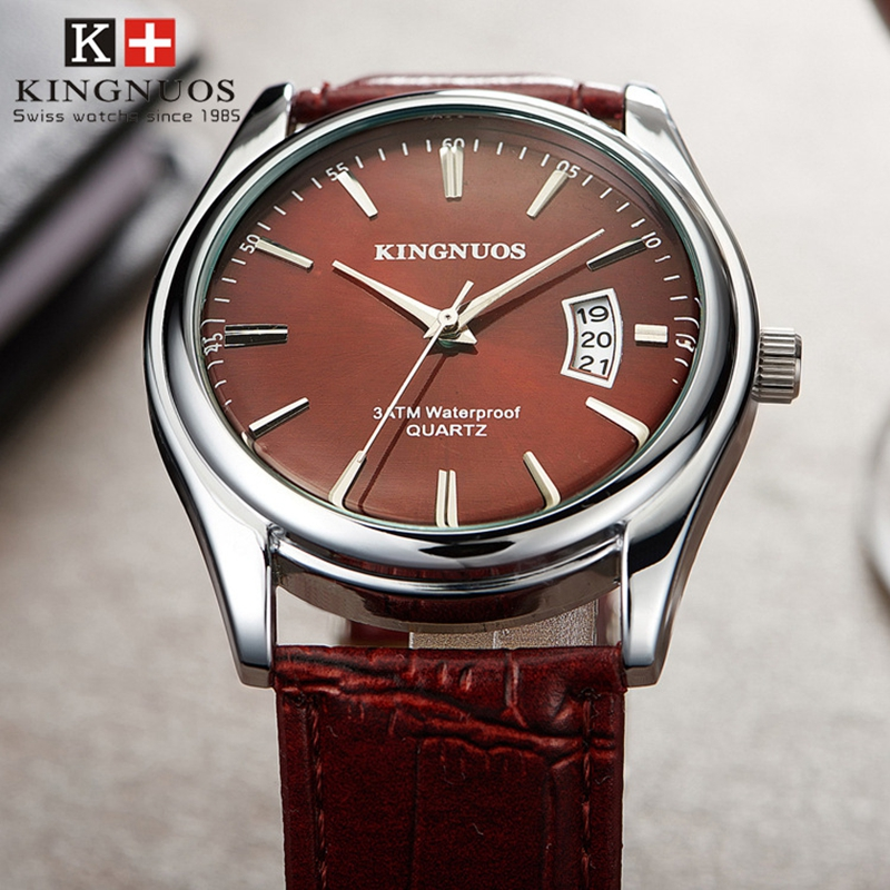 Kingnuos moda simples relógio masculino casual à prova dwaterproof água relógios de quartzo clássico negócios couro relógio de pulso zegarki meskie