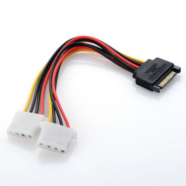 Новый Мощность Кабель-адаптер 15-Pin SATA Мужской Двойной Molex 4-контактный IDE HDD женский
