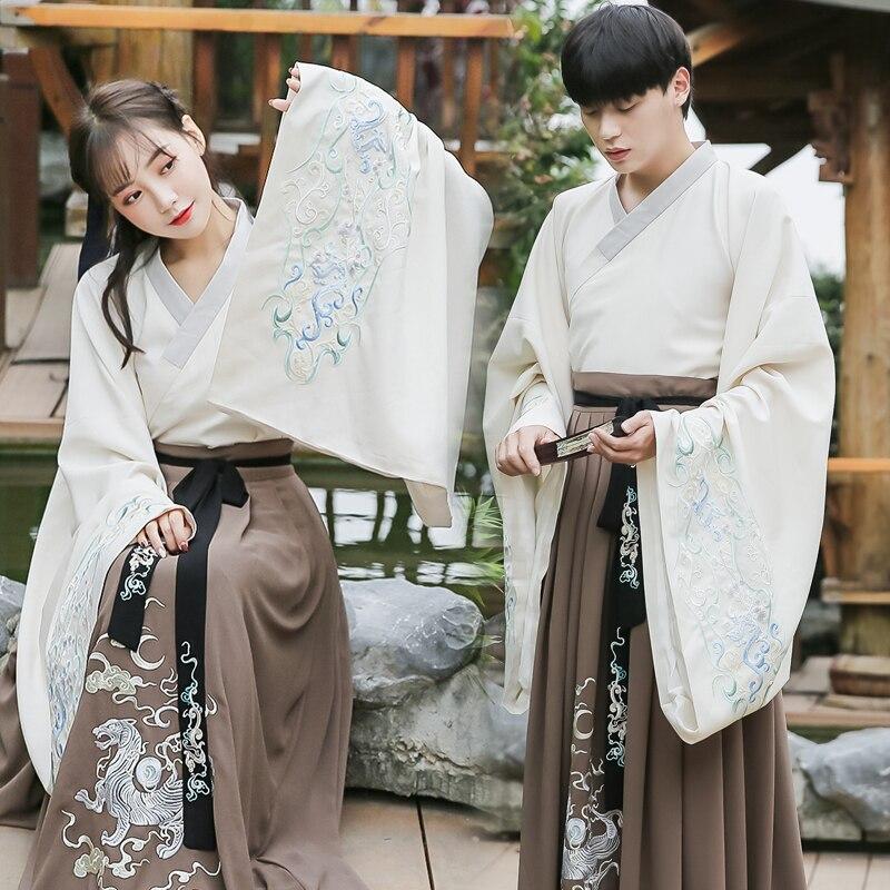 2019 ancienne dynastie wei jin couples hanfu vêtements robe de mariée grandes manches robe de soirée guangdong broderie
