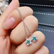 цены SHILOVEM 925 sterling silver real Natural Emerald stud earrings classic fine Jewelry women wedding wholesale  jce03030999agml
