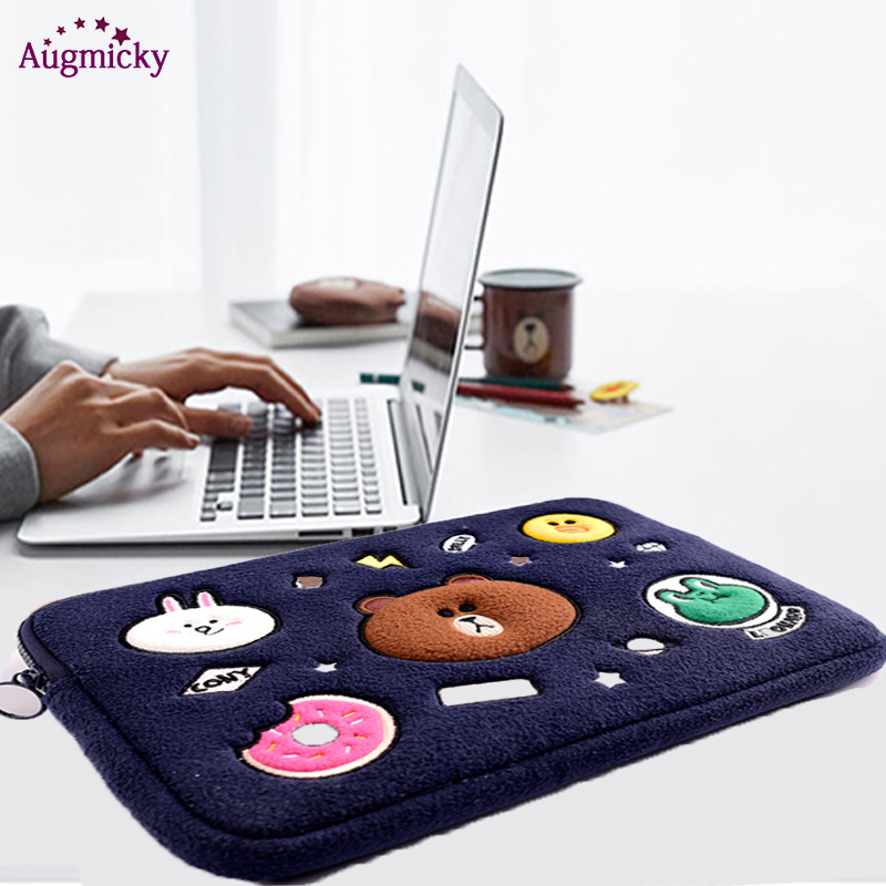 <font><b>Laptop</b></font> Sleeve Cute bear Bag <font><b>Case</b></font> for Macbook Air11 13 Notebook bag for Mac Book Air Pro 13 15 Dell <font><b>Acer</b></font> Sleeve 13.3 14 <font><b>15.6</b></font> Inch image