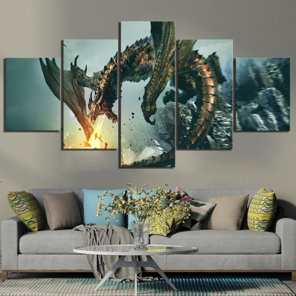 """Fantasy Red Dragon Gothic Canvas Print Poster 36/"""" X 24/"""""""