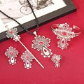 Bright Silver Ethiopian Set jewelry Eritrea Habesha Pendant Rope Chain Jewelry Silver Plated African Wedding Bride
