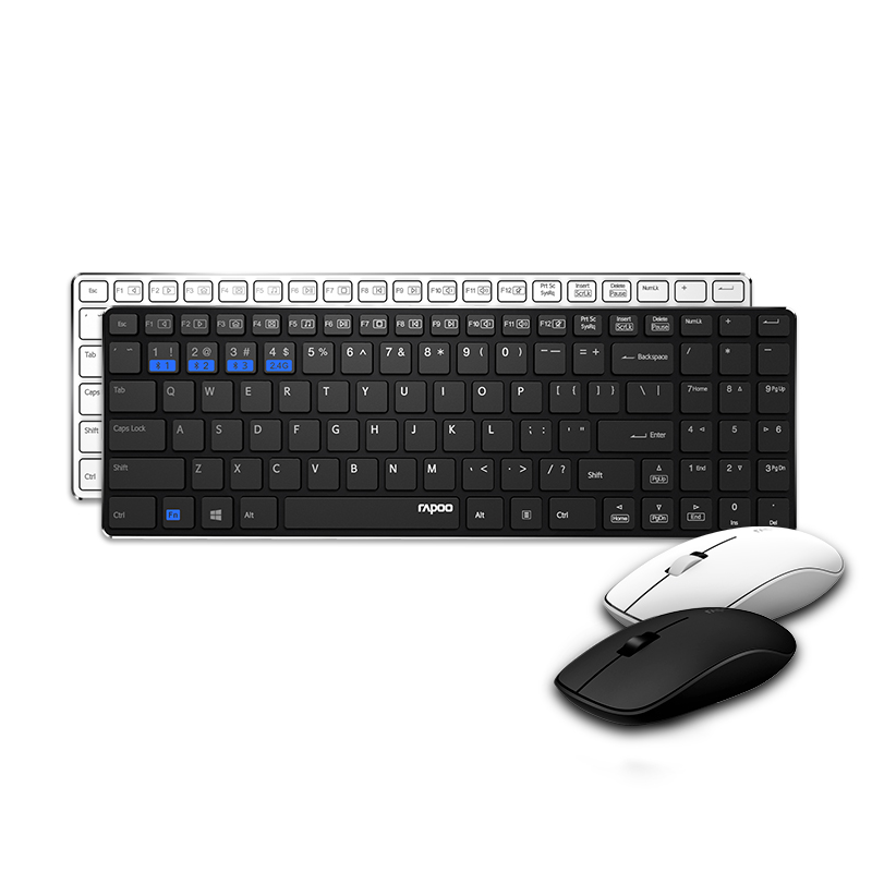 rapoo 9300m wireless ultra slim keyboard and silent optical mouse combo usb pc for home office. Black Bedroom Furniture Sets. Home Design Ideas