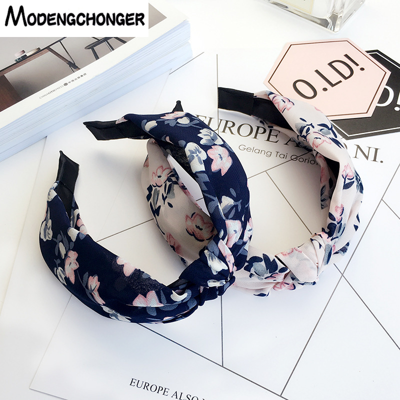 Newnest Hair Hoop Top Knot Elastic Hair Band Turban Stripe Hair Bezel Headband For Women Girls Printing Flower Hair Accessories