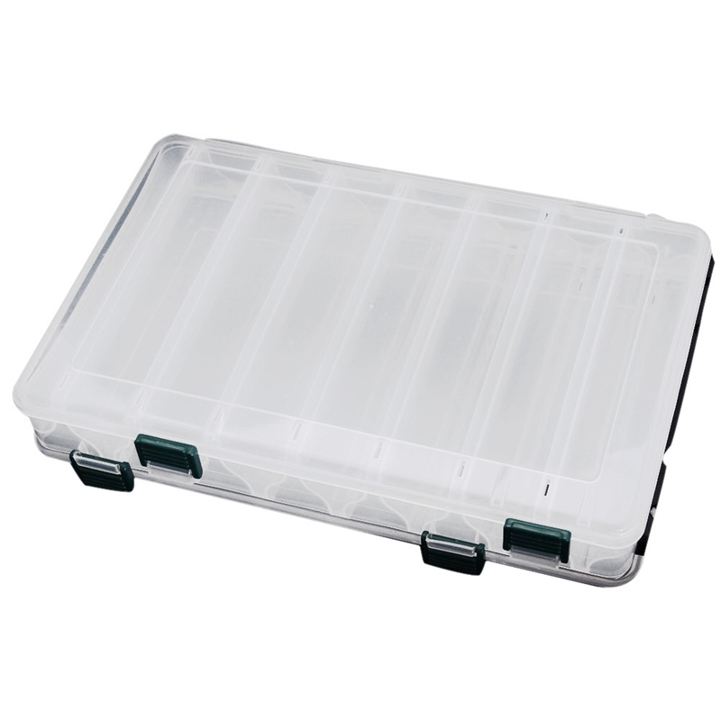 27*18*4.7CM Double Sided High Strength Transparent Visible Plastic Fishing Lure Box 14 Compartments with Drain Hole Fishing Ta