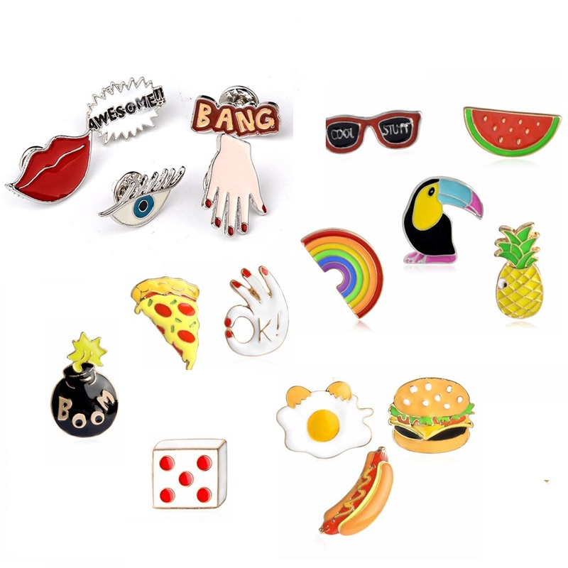 d6afd11d4da3d Click here!! Pameng Food Dogs PizzaBang Awesome! Hand Eye Fruit Watermelon  Pineapple Sunglasses Rainbow Jeans Bag Enamel Lapel Pin Brooch