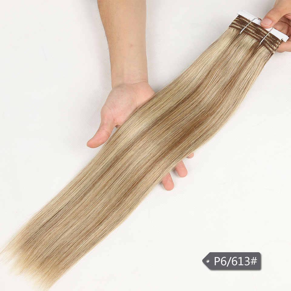 Elegancki pre-colored brazylijski Yaki prosto Remy ludzkie włosy splot wiązki 113 Gram Ombre blond kolor 613 P6/613 P27/613
