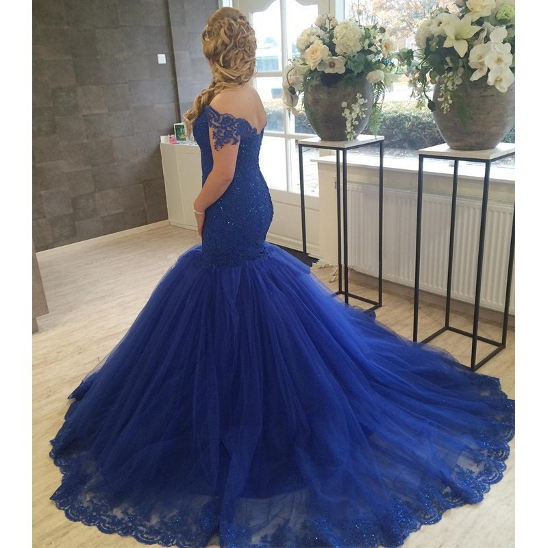Elegant Navy Blue Mermaid Prom font b Dress b font 2017 Charming Woman Sweetheart Appliqued Tulle