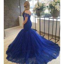 Elegante Marineblau Meerjungfrau Abendkleid 2017 Charmante Frau Schatz Appliqued Tulle Formale Abend-partei-kleider