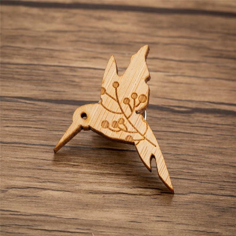Yiustar カラフルなミニエレガントなチェリー鳥ラペルピン木製ブローチピン寛大な甘いチャーミング女性女の子家族ギフト