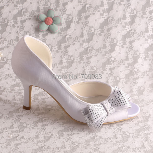eea45df4a01 Magic Bride Satin Side Bow Pumps Heels White Peep Toe Wedding Shoes Size 7  Dropshipping-in Women s Pumps from Shoes on Aliexpress.com