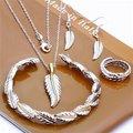 Envío Libre Al Por Mayor de Joyería de Moda Set, Pluma 4 Unidades set, 925 plata Esterlina Necklace & Bracelet & Earrings T117