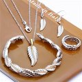 Free Shipping Wholesale Fashion Jewelry Set,Feather 4 Piece set,925 Sterling silver Necklace&Bracelet&Earrings T117