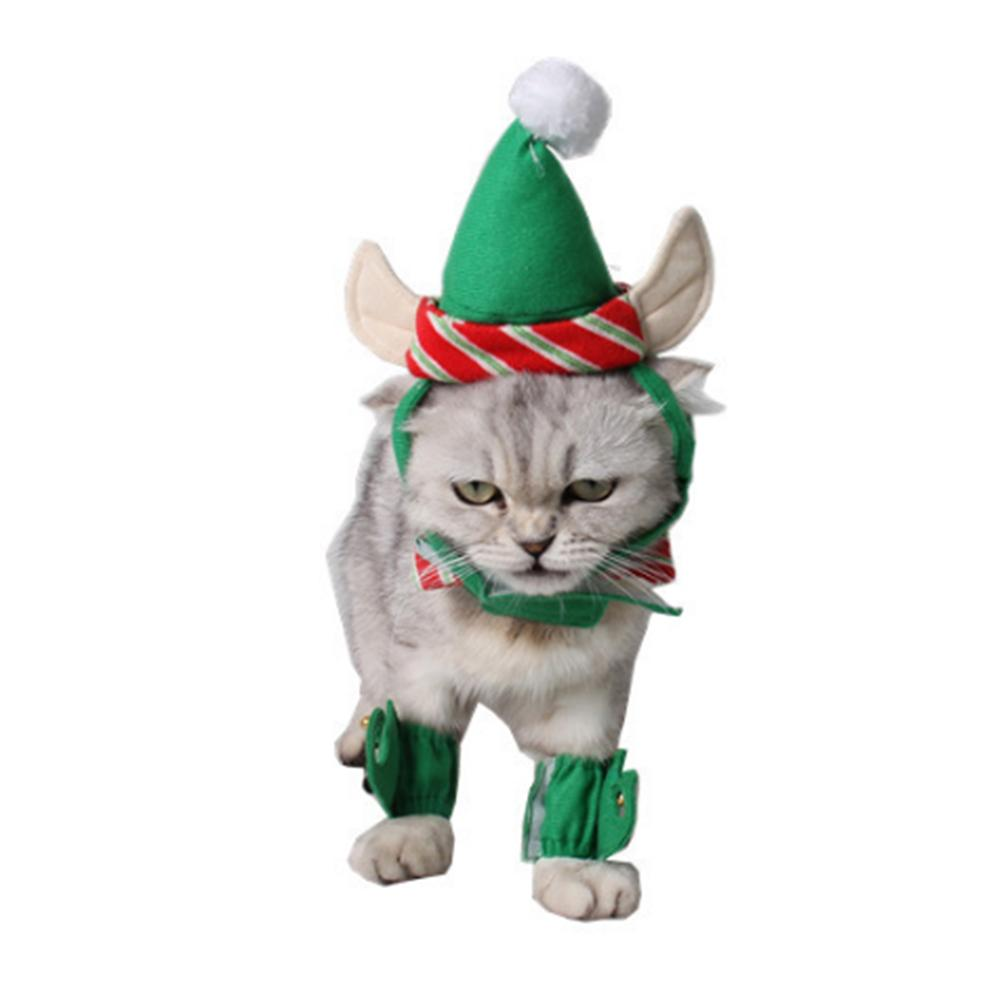 2018 4 Pet Hat Suits Warm Dog Cat Christmas Green Hat + Necklace + Foot Cover Christmas Party Puppy Dog Clothing Cap