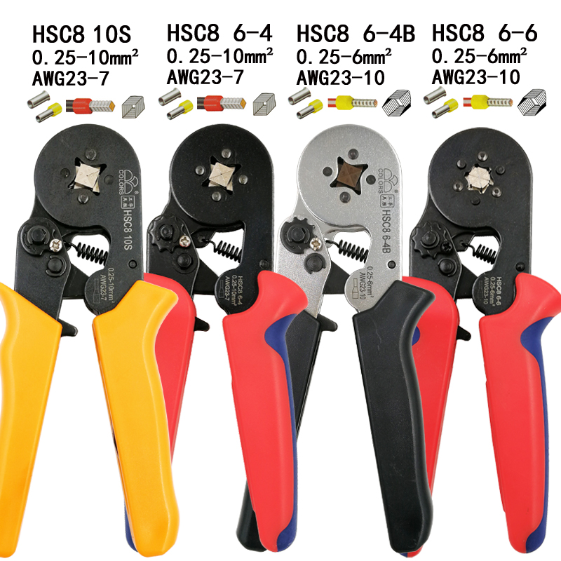 HSC8 10S crimping pliers 0.25-10mm2 23-7AWG HSC8 6-4/6-6 with 1020/700pcs tube type needle type terminal mini crimp wire tools colors hsc8 6 4 0 25 6mm2 23 10awg crimping pliers 700pcs terminals for tube type needle type terminal crimp self adjusting tool