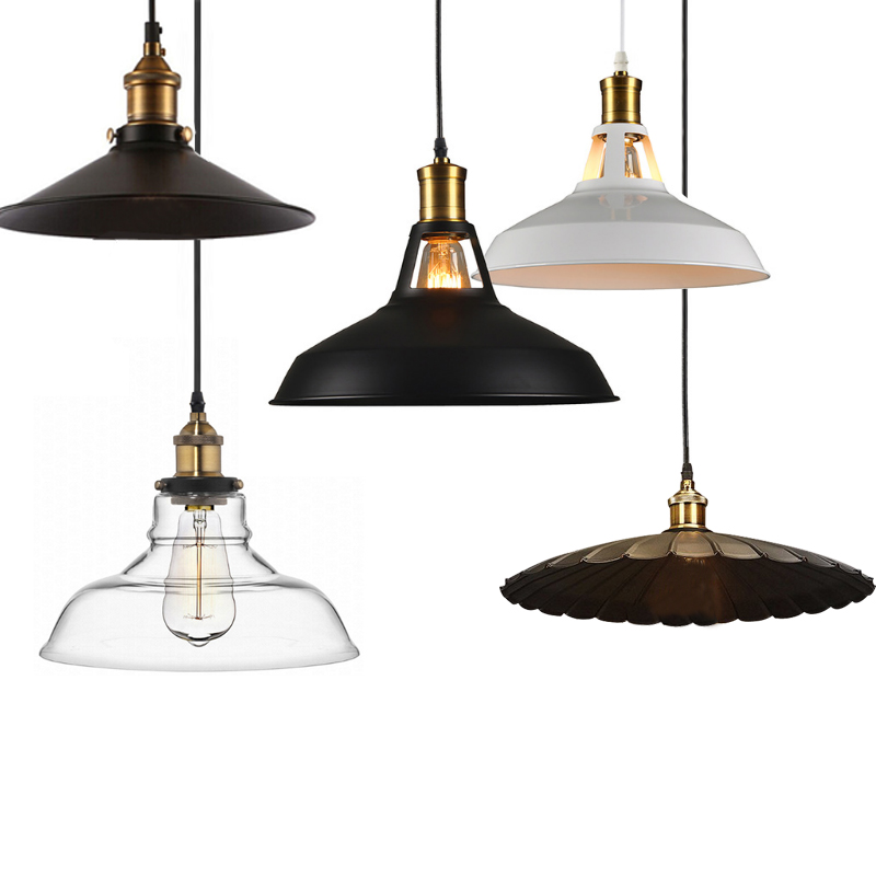 Vintage Glass Pendant Lamp 110-240V E27 Ceiling Clear Amber Glass Lights Nordic Hanging Lamp kitchen Fixture Luminaire