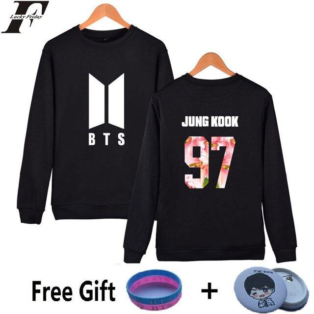 7238e4666e LUCKYFRIDAYF BTS Kpop Bluza Kobiety Koreański Popluar Bangtan k-pop  Harajuku Bluzy Kobiety Jesień Moletom