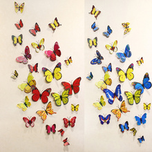 2017 New Gossip Girl Same Style 6 Big and Small 3D Butterfly Wall Stickers Butterflies Decors For Home Fridage Decoration