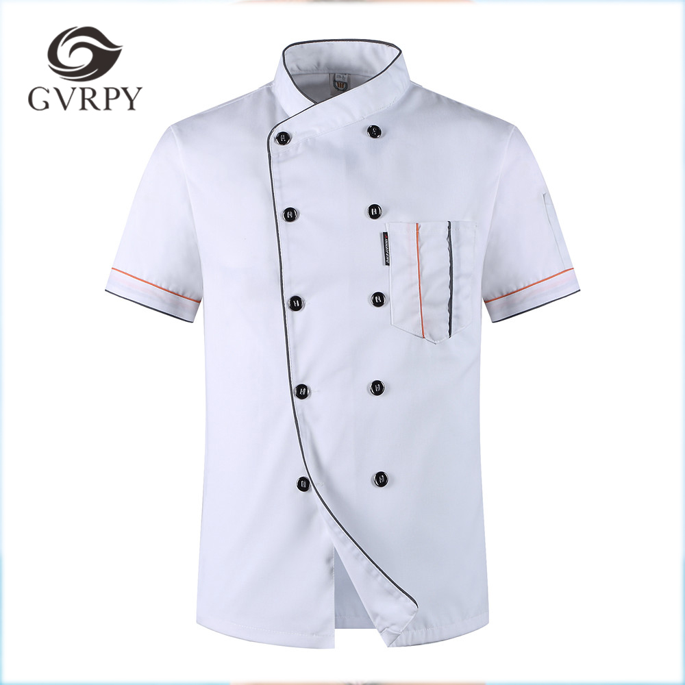 2018  Women Men Short-sleeved Double Breasted Breathable Kitchen Workwear Chef Jackets Catering Restaurant Food Service Uniforms