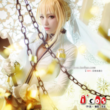 Anime Fate Extra Saber Nero Wedding dress Sexy Body Suit Cosplay Costume Full set Chains in