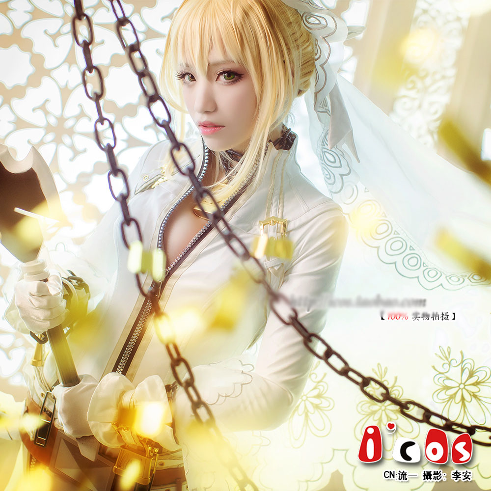 Anime Fate Extra Saber Nero Wedding dress Sexy Body font b Suit b font Cosplay Costume