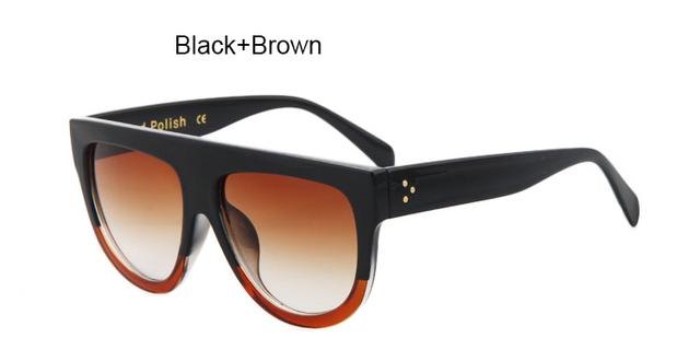 TSHING Fashion Sunglasses Brand Designer Women Flat Top Vintage Sunglasses Rivet Shades Big Frame Sunglass