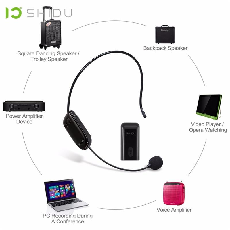 Image 2 - SHIDU UHF Wireless Head Headset Microphone 2 In 1 Handheld  Portable MIC Voice Changer Amplifier For Speech 3.5mm Plug  ReceiverMicrophones