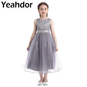 Image 1 - ילדים בנות נצנצים תחרה רשת מסיבת נסיכת שמלת פרח ילדה שמלת ילדי נשף כדור שמלות חתונה רשמי יום הולדת
