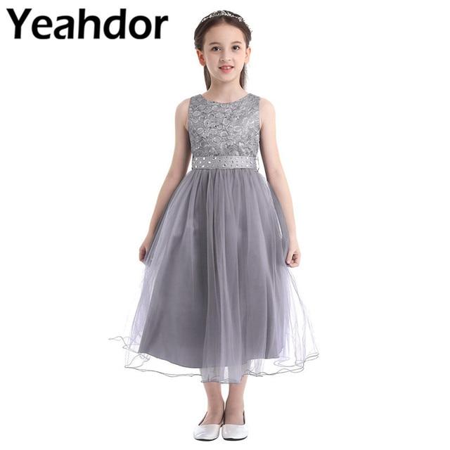 ילדים בנות נצנצים תחרה רשת מסיבת נסיכת שמלת פרח ילדה שמלת ילדי נשף כדור שמלות חתונה רשמי יום הולדת