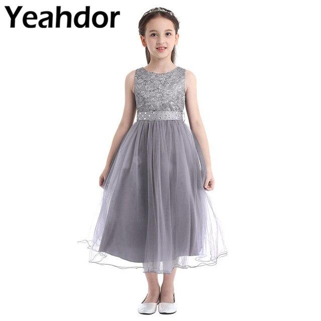 Kids Girls Sequined Lace Mesh Party Princess Dress Flower Girl Dress Children Prom Ball Gowns Wedding Birthday Formal Dress