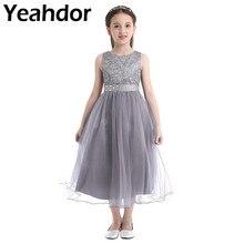 Çocuk kız payetli dantel örgü parti prenses elbise çiçek kız elbise çocuk balo balo elbisesi düğün doğum günü resmi elbise