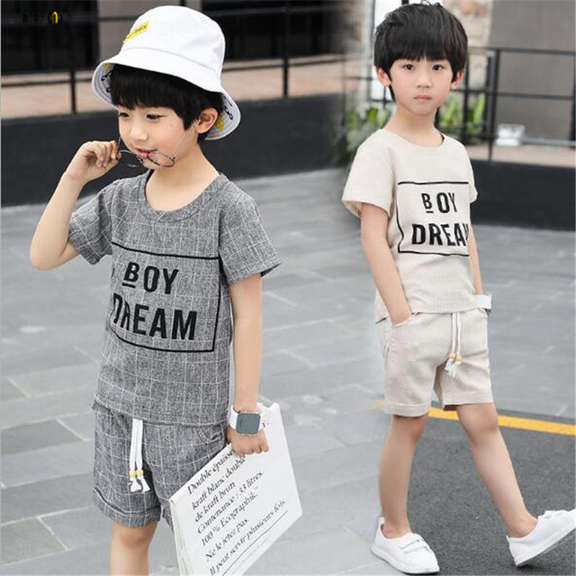 a1cecddf5 School Boy Sets Summer Tops & Pants Casual Letter Short Sleeve Kids Sports  Suit Child Clothes 5 6 7 8 9 10 11 12 13 14 Years