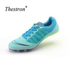 e9d75176055 Homem Sapatos de Pista e Campo Verde Azul Crianças Tênis Picos Sapatos  Mulher Correndo Unhas Atletismo