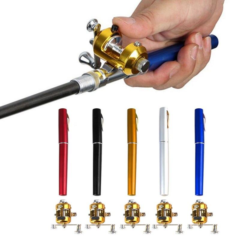 Mini télescopique Portable poche poisson stylo en alliage d'aluminium canne à pêche pôle + bobine
