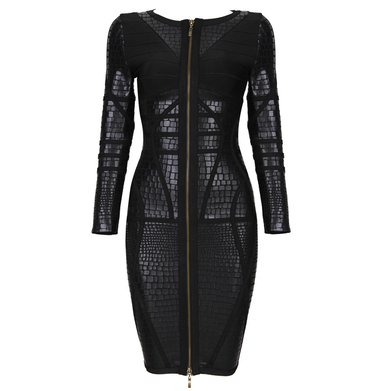 2014 nuevo especial negro elegante primavera manga larga H391 noche fiesta celebridad vendaje vestidos vestido + traje-in Juegos de vestir from Ropa de mujer    1