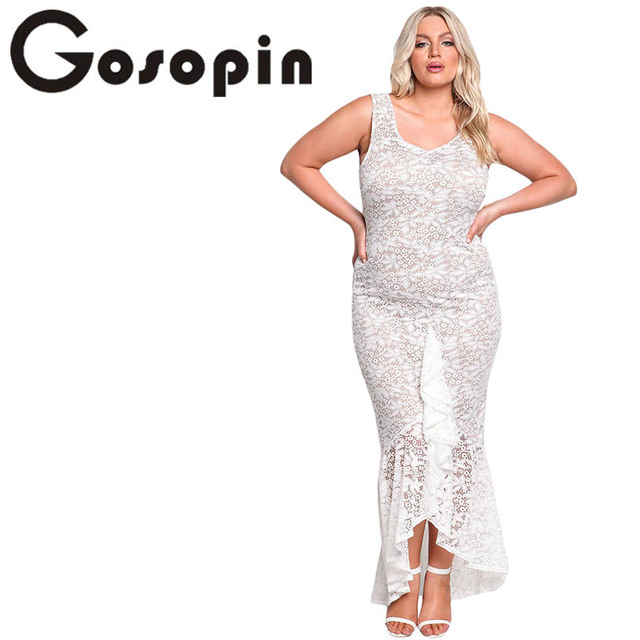 d2597fc2c9 Gosopin Elegant Mermaid Lace Party Dress Summer Large Size White Sexy Plus  Size Club Wear Maxi Dress High Low Tank Dress 61689