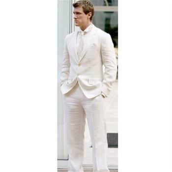 Modern Men Blazer 2 Pieces(Jacket+Pants+Tie) Causal Latest Coat Pant Designs Men Suit Ivory Linen Summer Stylish Tuxedo 005