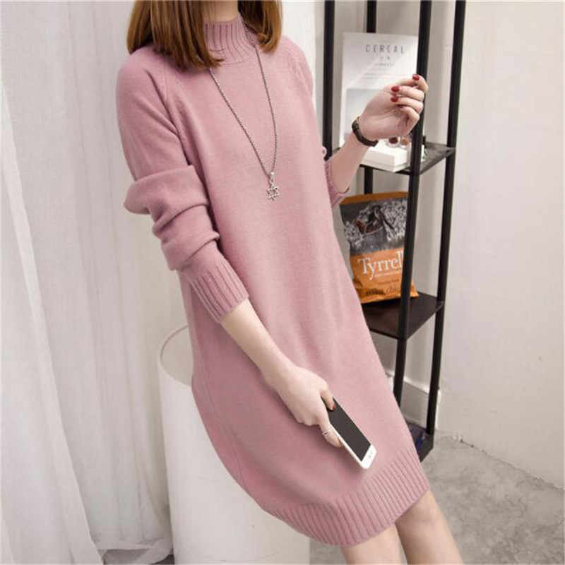 Spring Stretch pullover Casual Sweater Female Autumn Winter New Loose Medium Long Large size Sweater Long sleeve Women Tops 2019