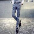 Лайкра мужские случайные прямые брюки свободные осень толщиной среднего возраста деловой карьеры костюм брюки железа