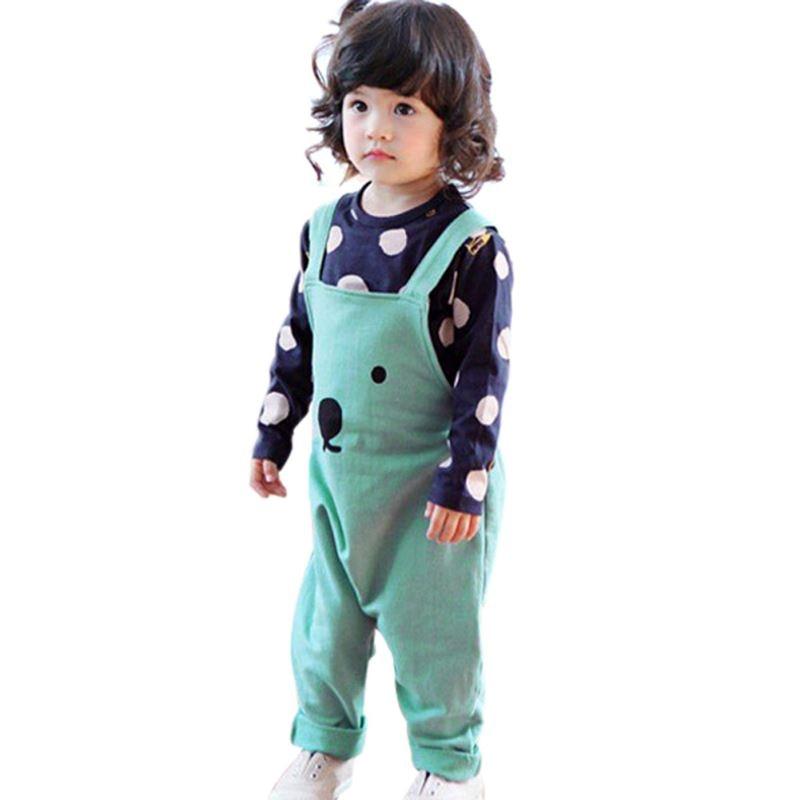 0-3Y Fashion Baby Boy Girls Bib Pants Overalls Bear Print Harem Pants Long Trousers