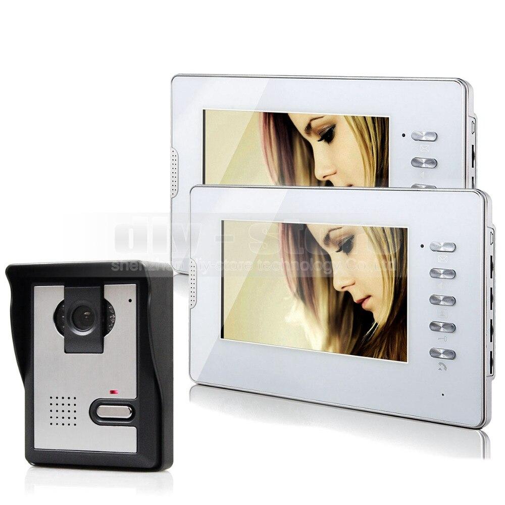 DIYSECUR Video Door Phone Doorbell Intercom System 600TVL IR Camera Monitor 7 TFT Color Display 1v2