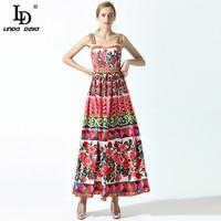 High Quality 2017 Summer New Runway Maxi Dress Women's Spaghetti Strap Cute Charming Rose Flower Floral Print Beading Long Dress