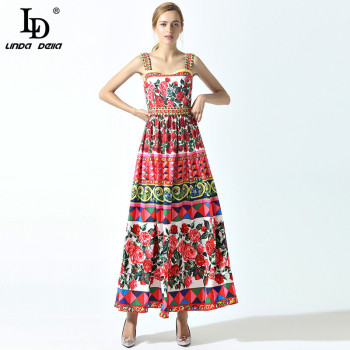 цена на LD LINDA DELLA Elegant Summer Maxi Dress Women's Spaghetti Strap Rose Flower Floral Print Casual Boho Holiday Long Dress