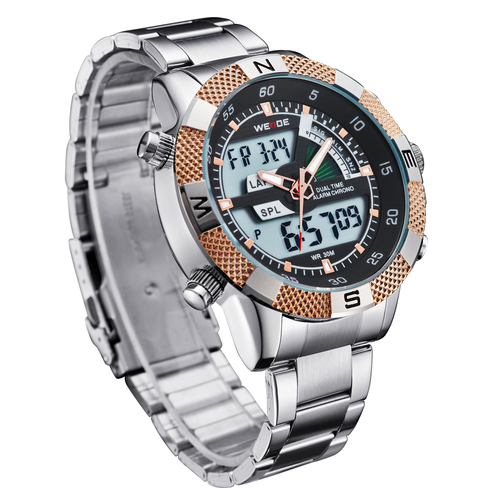 bfa901919fd Hombre LED Relojes Con Pantalla Acero inoxidable Relojes De Cuarzo Estilo  Deportivo Backlight Masculino Relogio Commander Watch -in Quartz Watches  from ...