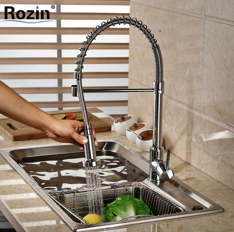Deck Mount Single Handle Swivel Spout Kitchen Sink Faucet Deck Mount Dual Switching Sprayer Nozzle